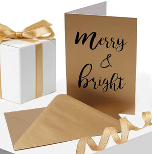 Gold Christmas Card Merry And Bright