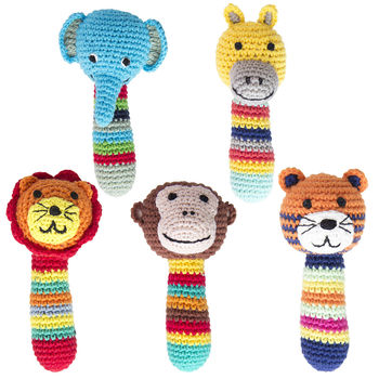 Handmade Crochet Jungle Animal Rattle