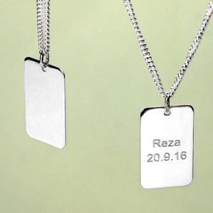 Boys Silver Dog Tag Necklace - necklaces