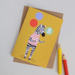Age Eight Zebra Children's Birthday Card - birthday cards