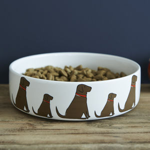 Chocolate Labrador Dog Bowl - treats & food