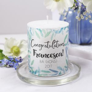 Congratulations Graduation Personalised Candle - exam congratulations gifts