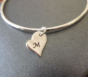 Personalised Silver Heart Charm Bangle - children's jewellery