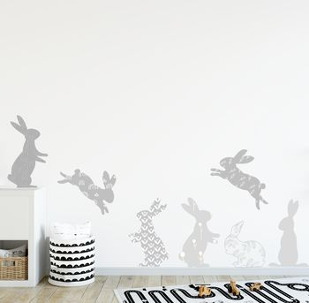 Grey Rabbit Fabric Wall Stickers