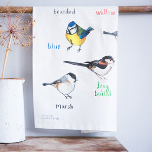 'Tits' Illustrated Bird Tea Towel - kitchen