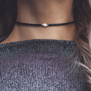 Leela. White Opal Braided Leather Choker - chokers