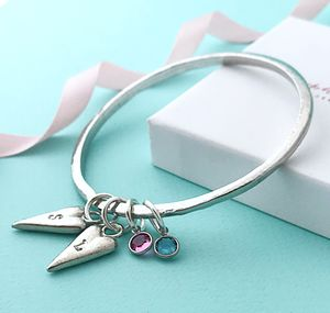 Personalised Birthstone And Initial Bangle