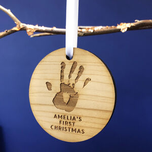 Personalised Hand Print Christmas Tree Bauble