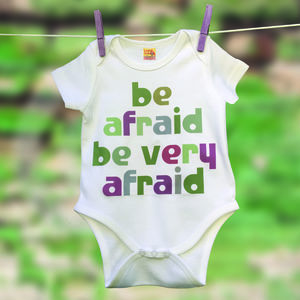 Funny Baby Gift 'Be Afraid.' Film Quote Babygrow - clothing