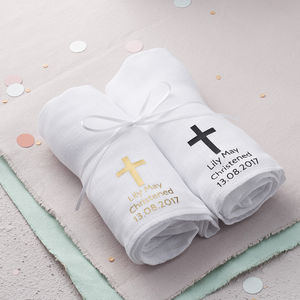 Personalised Christening Baby Muslin Gift Set