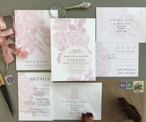Etched Rose Wedding Invitation Set - invitations
