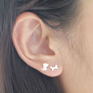Sterling Silver Puppy And Bone Ear Studs - children's jewellery