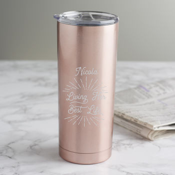 Personalised 'Living Her Best Life' Travel Cup