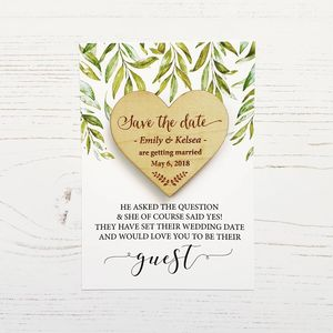 Laurel Wooden Magnet Save The Date - wedding stationery