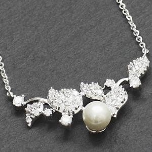 Crystal Leaf Pearl Necklace