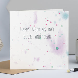 Personalised Watercolour Wedding Card