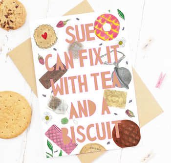 Personalised 'Tea And Biscuit' Card