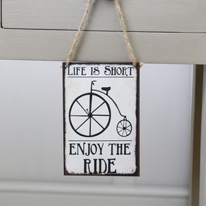 'Life is short - enjoy the ride' Wall Plaque - decorative accessories