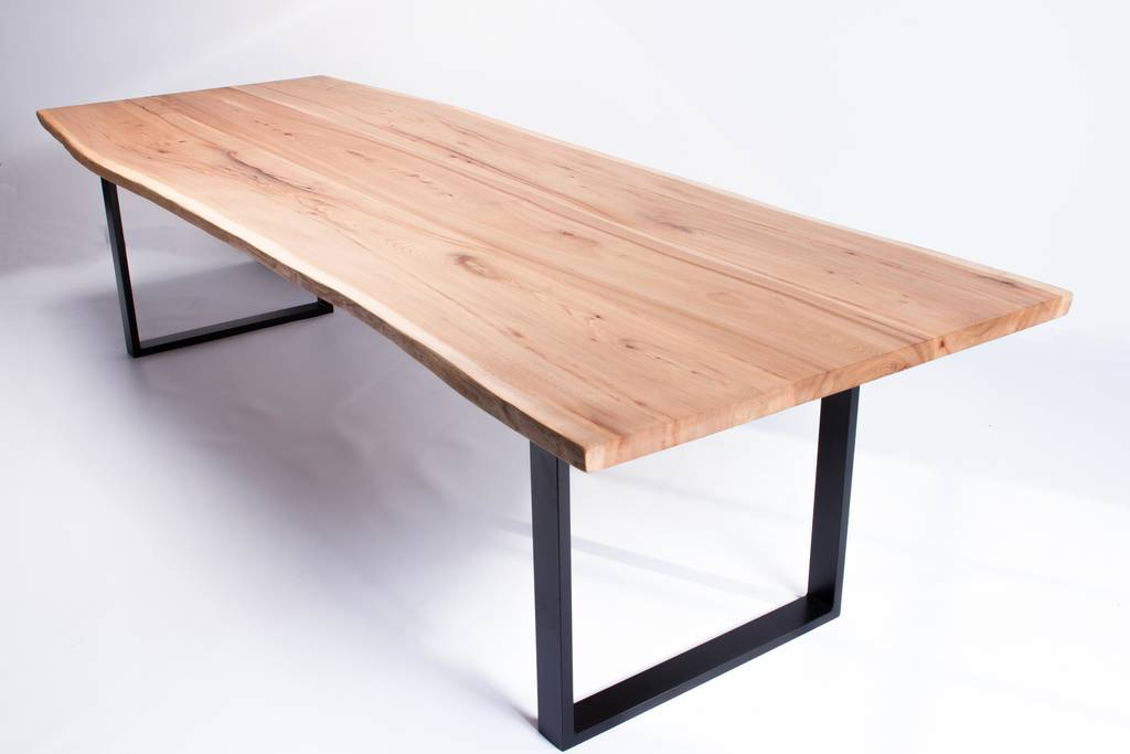 Vivente oak slab dining table with steel legs by frances for Steel dining table legs
