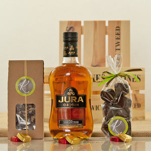 Whisky And Artisan Chocolates In A Crate - whiskey