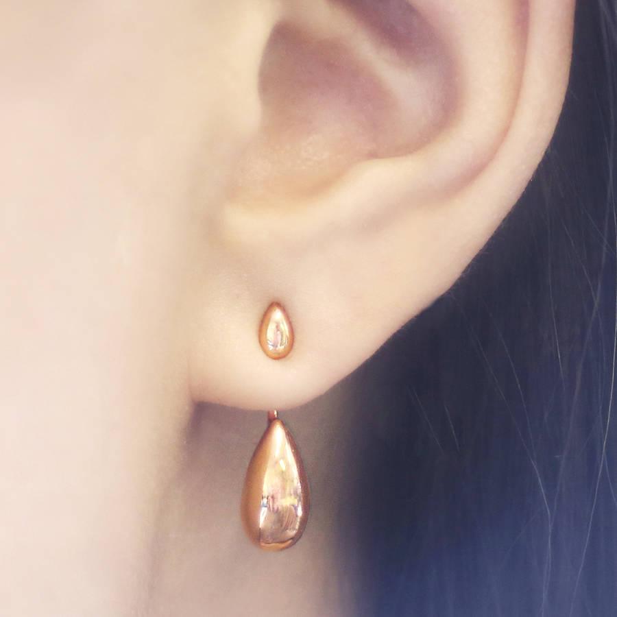 Rose Gold Teardrop Two Way Ear Jacket Earrings
