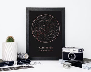 Black And Gold Metallic Map Of The Stars Print - typography