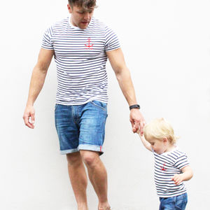 Stripy Anchor Parent And Child T Shirt Set - first father's day