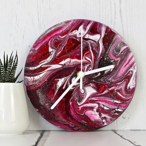 Abstract Painting Clock In Pinks - new in home