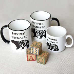 Family Bear Mugs, Baby, Mama Papa Bear Set