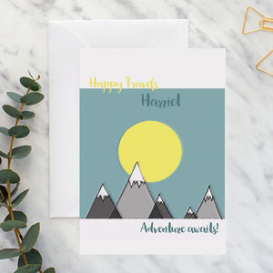 Personalised Happy Travels Adventure Awaits A5 Card