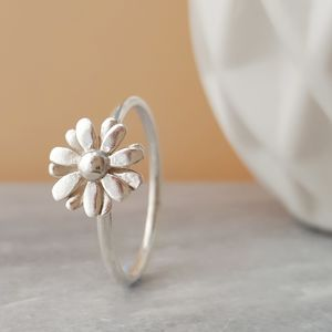 Sterling Silver Small Daisy Ring - rings