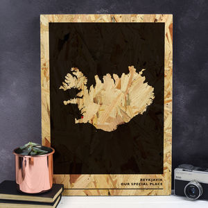 Personalised Wood Anniversary Map Print - 5th anniversary: wood