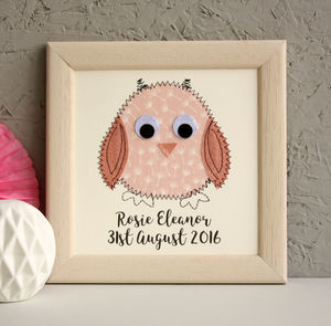 Personalised Baby Owl Embroidered Framed Artwork - children's room