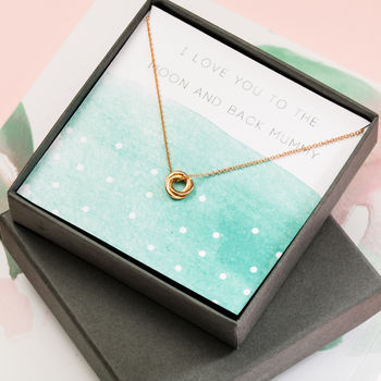 Love You to The Moon and Back Necklace giftbox with 9ct yellow gold plate russian ring pendant