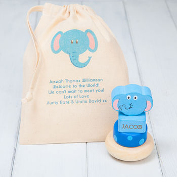 Personalised Elephant Wooden Stacking Rings Toy