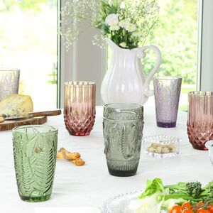 Set Of Four Luxury Embossed Coloured Highball Tumblers