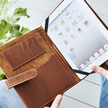Personalised Leather iPad Cover Organiser