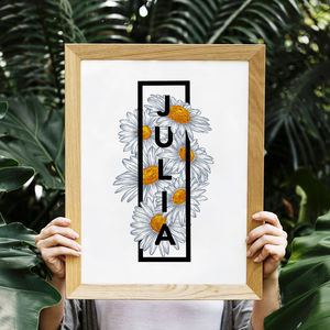 Personalised Daisy Botanical Flower Print - gifts for tweens