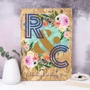 Personalised Wood Anniversary Floral Initials Print
