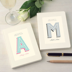 Set Of Two Personalised Wedding Engagement Notebooks - engagement gifts