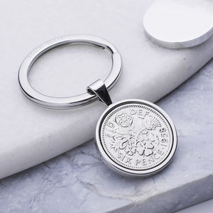 Sixpence 1958 60th Birthday Coin Keyring - keyrings