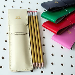 'Stay Sharp' Leather Pencil Pouch