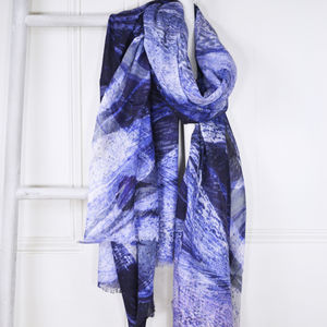 Iris Blue Marble Print Wool Silk Blend Scarf - scarves