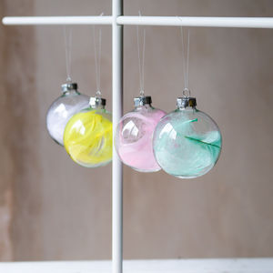 Feather Baubles, Set Of Four - ornaments