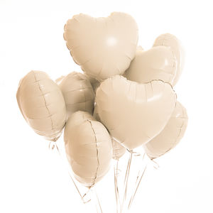Inflated One Dozen White Heart Foil Balloons