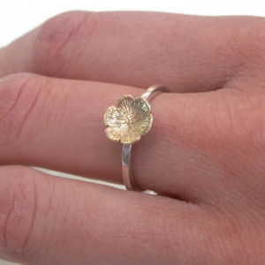 9ct Yellow Gold Flower And Silver Ring