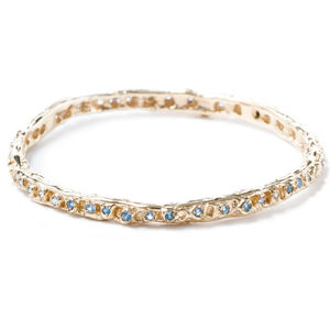 Gold Bangle With Light Blue Sapphires - wedding jewellery