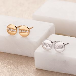 Disc With Line Of Sparkle Stud Earrings - earrings