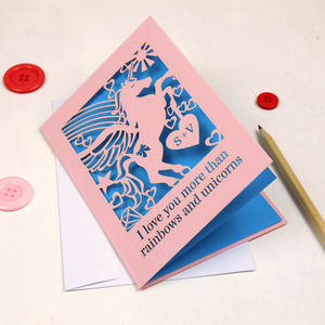 Personalised Papercut Unicorn Valentine's Card