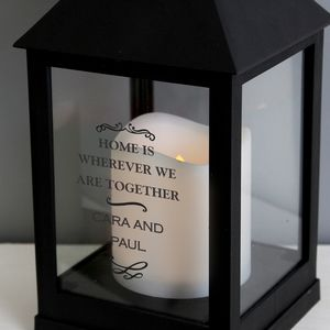 Personalised Antique Scroll Black Lantern - outdoor lights